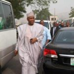 Saraki arrives tribunal in company of only two Senators