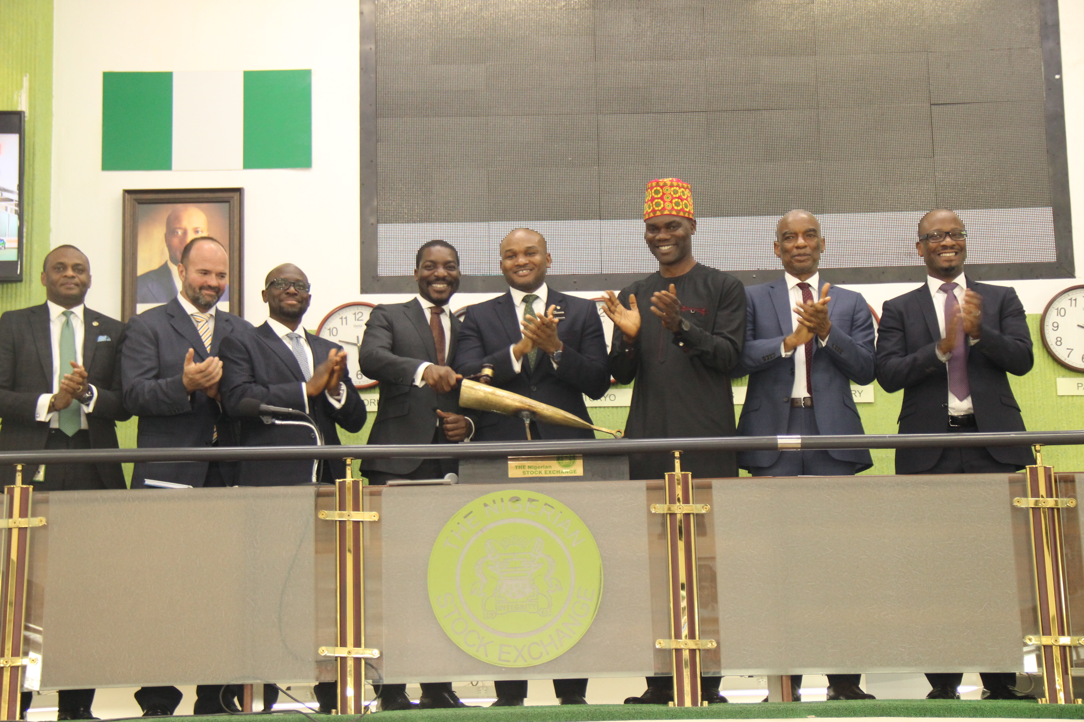 · L – R shows Jude Chiemeka, Divisional Head, Trading Business, The Nigerian Stock Exchange (NSE); Jamie Rixton, Chief Agronomist, Ella Lakes Plc; Wole Onasanya, Chief Financial Officer, Ella Lakes Plc; Chuka Mordi, Chief Executive Officer, Ella Lakes Plc; Olumide Bolumole, Divisional Head, Listing Business, NSE; Enot Ogbebor, Non-Executive Director, Ella Lakes Plc; Frank Ellah, Non-Executive Director, Ella Lakes Plc and Kolo Majekodunmi, Managing Director, MBC Capital Limited during the Listing of Ella Lakes Plc at the Exchange today.
