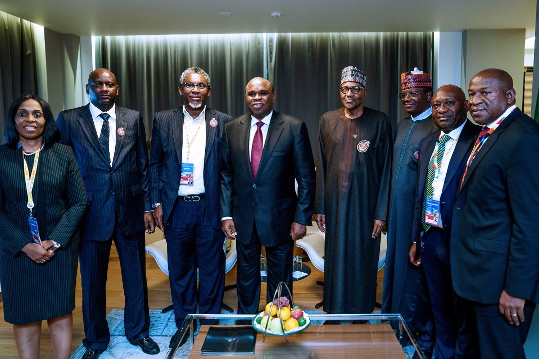 President Muhammadu Buhari (4th right) with Governor of Zamfara State, Bello Muhammad Matawalle (3rd right); Minister of Solid Minerals, Arc. Olamilekan Adegbite (3rd left); President/CEO AfreximBank, Prof. Benedict Oramah (4th left); MD/CEO Heritage Bank Plc, Dr Ifie Sekibo (2nd right); Managing Director, Intra-African Trade Initiative, AfreximBank, Mrs. Kanayo Awani (left); Zamfara State Official, Alhaji Bashir Hadejia (2nd left) and Managing Director,  Pan African Capital, Mr. Chris Oshiafi, during a meeting to brief President Buhari on the Afreximbank cooperation with Zamfara State for Solid Mineral development put together by Heritage Bank and PAC, in Sochi, Russial,