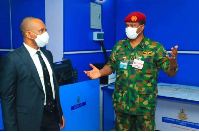 R-L: The Chief of Air Staff, Air Marshal Sadique Abubakar explaining a point to the Director-General of NIMASA) Dr. Bashir Jamoh during a working visit to the Nigerian Air Force headquarters in Abuja recently.