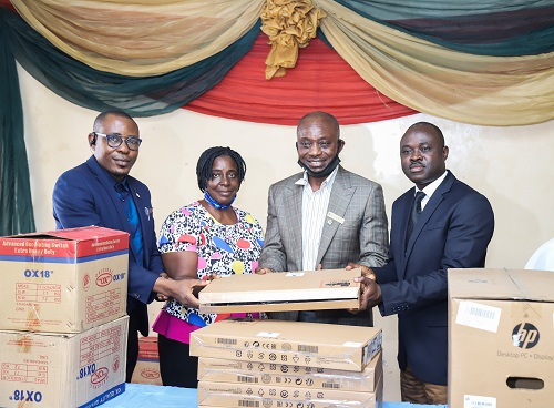L- R, Head, Accounts, Apapa Gen, Hospital; Taiye Taiwo, Head, Admin/Human Resources, Taiwo Aramide, Chief Medical Director of the hospital; Dr. Ajibola Keshinro and Group Head, Corporate Communications, SIFAX Group Olumuyiwa Akande, during the presentation of the items donated by the group to the hospital recently in Lagos