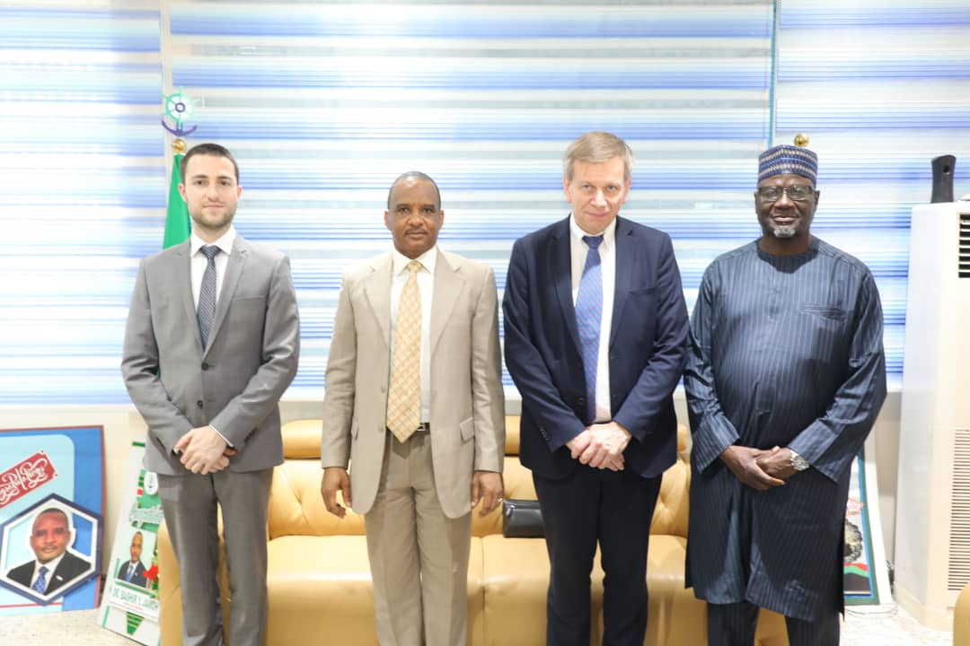 L-R: Director, Embassy of Belgium, Stef Commers; DG, NIMASA, Dr. Bashir Jamoh; Ambassador Designate of Belgium, His Excellency, Daniel Bertrand; and ED, Operations, NIMASA, Shehu Ahmed, during a courtesy call  by the Ambassador at the Agency's headquarters in Lagos, recently