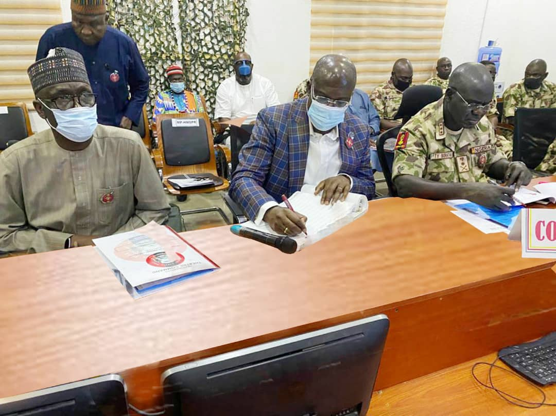 From Left: Group Managing Director of the NNPC Mallam Mele Kyari, Honorable Minister of State, Petroleum Resources, Chief Timipre Sylva and the Chief of Army Staff, Lt. General Tukur Buratai at a meeting in Maimalari Cantonment, Maiduguri   ,  ,