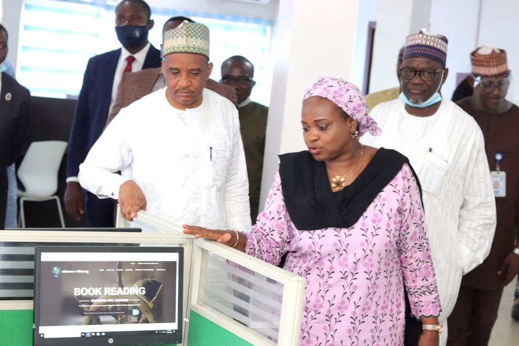 L-R: DG, NIMASA, Dr. Bashir Jamoh; Head of NIMASA Library, Aisha Askira; and ED, Operations, Shehu Ahmed, at the official opening of the NIMASA Knowledge Centre and e-library at the Nigerian Maritime Resource Development Centre (NMRDC), Lagos,