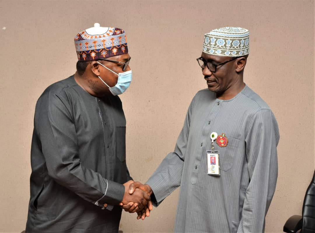 GMD,,NNPC, Mallam Mele Kyari (right) with Mr. Hassan Bello, Chairman of the Nigerian Fleet Implementation Committee Committee at a meeting in the NNPC Towers, Abuja.,