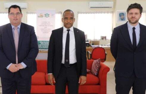 DG, NIMASA, Dr. Bashir Jamoh (middle), flanked by MD, APEC-Antwerp/Flanders Port Training Centre and Port of Antwerp International, Mr. Kristof Waterschoot (left), and Director at Port of Antwerp International, Mr. Mario Lievens, after a meetings at the Nigerian Belgian Chamber of Commerce, Onikan, Lagos, when the Port of Antwerp executives visited Nigeria, recently.
