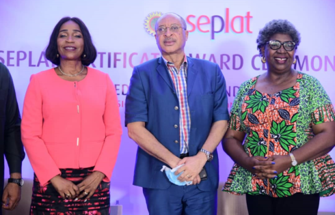 L-R: Dr. Chioma Nwachuku, Director, Ext.l Affairs and Communications, SEPLAT; Prof. Pat Utomi, Moderator at Seplat Education Roundtable and Prof. Ngozi Osarenren, Keynote Speaker at the Seplat Teachers Empowerment Programme (STEP) Awards Ceremony 2021 at the Roundtable held in Benin