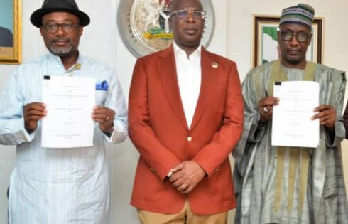 From left Engr. Simbi Wabote, Executive Secretary, NCDMB, Chief Timipre Sylva, Hon. Minister of State Petroleum Resources, Mallam Mele Kyari, GMD,, NNPC, at the signing ceremony.