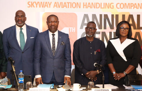 L-R: Barr. Chike Ogeah, Vice Chairman, Skyway Aviation Handling Company (SAHCO) PLC; Basil Agboarumi, MD/CEO, SAHCO PLC; Dr (Barr.) Taiwo Afolabi MON, Chairman, SAHCO PLC and Omolara Bello, Assistant General Manager, Legal Services and Company Secretary, SAHCO PLC during SAHCO's 11th AGM