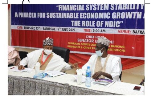 """L –R: Chairman Senate Committee on Banking, Insurance and Other Financial Institutions, Senator Uba Sani and Managing Director/CE NDIC, Bello Hassan during the 2021 Senate Retreat with the Theme: """"Financial System Stability: A Panacea for Sustainable Economic Growth and Development – The Role of NDIC"""" at Bafra Hotel in Kaduna."""