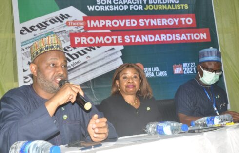 L-R: Director General, Special Adviser to Director General, Standards Organisation of Nigeria (SON), Mallam Farouk Salim; Director, Standard Development Directorate, SON, Mrs. Chinyere Egwuonwu and Deputy Director/Head, Public Relations, SON, Mr. Bola Fashina during SON capacity building workshop for journalists in Lagos