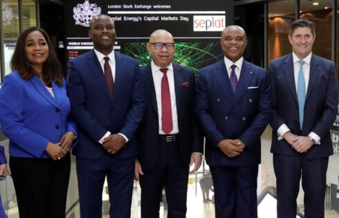 L-R: Dr. Chioma Nwachuku, Director, Ext. Affairs and Sustainability, Seplat Energy Plc; Mr. Effiong Okon, Operations Director; Mr. Emeka Onwuka, CFO; Dr. ABC Orjiako, Board Chairman; and Mr. Roger Brown, CEO, during the Opening Bell Ceremony by the Board and Management of Seplat Energy at the London Stock Exchange (LSE) , Thursday.