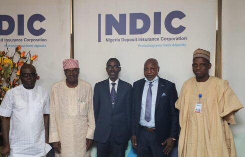 Managing Director, NDIC and President Nigerian Guild of Editors and executives on the occasion of a courtesy visit to the NDIC