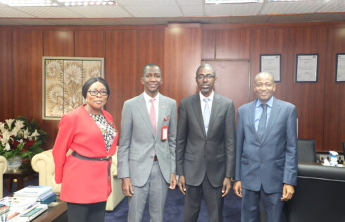 L-R Executive Director (Corporate Services) NDIC, Hon. (Mrs.) Omolola Abiola Edewor; Chairman EFCC, Abdulrashid Bawa; MD/CEO NDIC, Bello Hassan and Executive Director (Operation) NDIC, Mustapha Mohammed Ibrahim, during a courtesy call to the NDIC Senior Management in Abuja by the Chairman EFCC