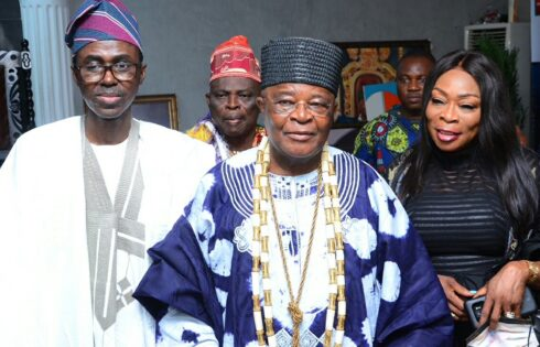 His Royal Majesty the Alake of Egbaland, Oba Adedotun Aremu Gbadebo (centre) poses for a photograph with the Nigeria Deposit Insurance Corporation (NDIC) MD/CE Mr. Bello Hassan (1st Left) and the NDIC Executive Director Corporate Services, Hon. Mrs. Omolola Abiola-Edewor (1st Right) during the Annual Alake of Egbaland Free Medi-Care for Elderly and Lecture in Abeokuta, Ogun State.